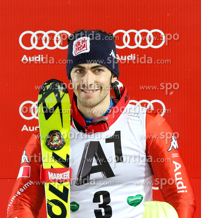 27.01.2015, Planai, Schladming, AUT, FIS Weltcup Ski Alpin, Nightrace, Slalom, Herren, Siegerehrung, im Bild Stefano Gross (ITA) // Stefano Gross of Italy celebrates on podium Schladming FIS Ski Alpine World Cup at the Planai course in Schladming, Austria on 2015/01/27. EXPA Pictures © 2015, PhotoCredit: EXPA/ Martin Huber