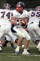 10 November 2007:  Kyle Bradley looking for a running back. This game between the Wheaton College Thunder and the Illinois Wesleyan University Titans was for a share of the CCIW Championship and was played at Wilder Field on the campus of Illinois Wesleyan University in Bloomington Illinois.
