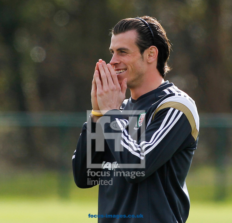 Gareth Bale of Wales Training at the Vale Resort, Hensol<br /> Picture by Mike Griffiths/Focus Images Ltd +44 7766 223933<br /> 25/03/2015