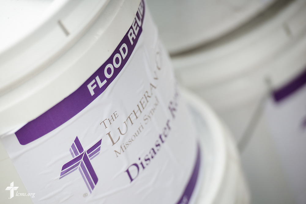 Flood buckets are prepared in anticipation of a cleanup event of flood-damaged homes on Saturday, Jan. 9, 2016, in Watseka, Ill.  LCMS Communications/Erik M. Lunsford