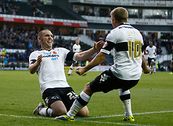 Derby County's Jake Buxton celebrates scoring the first goal with Jamie Ward-Photo mandatory by-line: Matt Bunn/JMP - Tel: Mobile: 07966 386802 09/11/2013 - SPORT - FOOTBALL - Pride Park - Derby - Derby County v Sheffield Wednesday - Sky Bet Championship