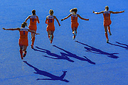 Netherlands players run to their team mates to celebrate winning the Vitality Hockey Women's World Cup 2018 Finals Gold Medal match between the Netherlands and Ireland, at the Lee Valley Hockey and Tennis Centre, QE Olympic Park, United Kingdom on 5 August 2018. Picture by Martin Cole.