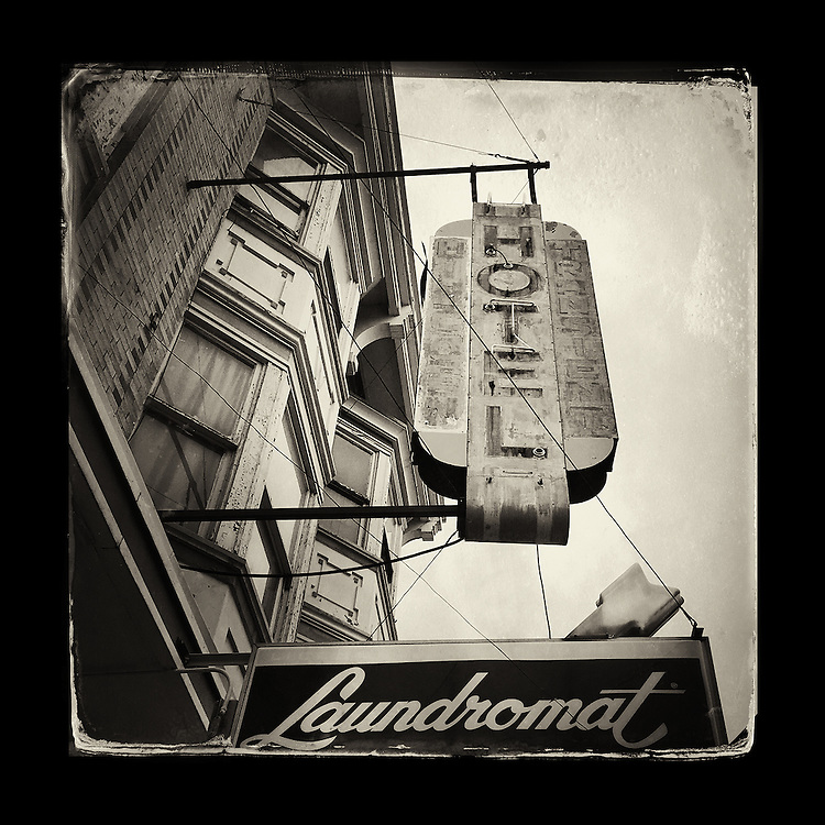 "Charles Blackburn image of a hotel sign in Butte, MT. 5x5"" print."