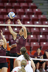 31 OCT 2008:  Calli Norman  elevates for a block attmpet during a match in which the Missouri State Bears defeated the Redbirds of Illinois State 3 sets to 2 on Doug Collins Court inside Redbird Arena in Normal Illinois