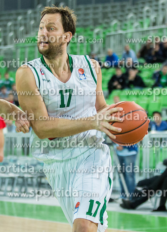 Sasa Zagorac #17 of KK Union Olimpija during basketball match between KK Union Olimpija Ljubljana and KK Sutjeska Niksic in Round #3 of ABA League 2015/16, on October 7, 2015 in Arena Stozice, Ljubljana, Slovenia. Photo by Vid Ponikvar / Sportida