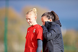 NEWPORT, WALES - Tuesday, November 6, 2018: Wales' sports science Beth Lloyd and captain Sophie Ingle during a training session at Dragon Park ahead of two games against Portugal. (Pic by Paul Greenwood/Propaganda)