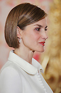Queen Letizia of Spain attended the lunch in ocassion of the '2014 Cervantes Award' at the Royal Palace on April 22, 2015 in Madrid, Spain