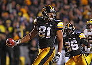 October 10, 2009: Iowa tight end Tony Moeaki (81) after a 34 yrd touchdown reception during the first half of the Iowa Hawkeyes' 30-28 win over the Michigan Wolverine's at Kinnick Stadium in Iowa City, Iowa on October 10, 2009.