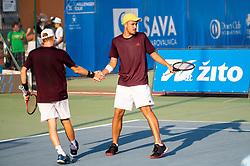 Aljaz Jakob Kaplja (SLO) (R) and Robert Kjellberg (SWE) playing doubles during Day 4 of ATP Challenger Zavarovalnica Sava Slovenia Open 2018, on August 6, 2018 in Sports centre, Portoroz/Portorose, Slovenia. Photo by Vid Ponikvar / Sportida