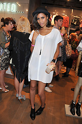 Singer ALUNA FRANCIS at a party to celebrate the launch of Louise Gray's make-up and clothing collections for Topshop held at Topshop Edited, 286 Regent Street, London on 22nd August 2012.