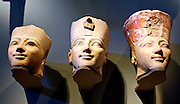 Three Heads from Osiride Statues, originally positioned in the Upper Court Niches. Dynasty 18, joint reign of Hatshepsut and Thutmose 111 (ca 1473-1458 B.C.)  Painted limestone.