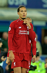 LIVERPOOL, ENGLAND - Sunday, March 3, 2019: Liverpool's Virgil van Dijk looks dejected after the FA Premier League match between Everton FC and Liverpool FC, the 233rd Merseyside Derby, at Goodison Park. The game ended in a 0-0 draw. (Pic by Paul Greenwood/Propaganda)