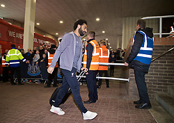 NEWCASTLE-UPON-TYNE, ENGLAND - Saturday, May 4, 2019: Liverpool's Mohamed Salah arrives ahead of the FA Premier League match between Newcastle United FC and Liverpool FC at St. James' Park. (Pic by David Rawcliffe/Propaganda)
