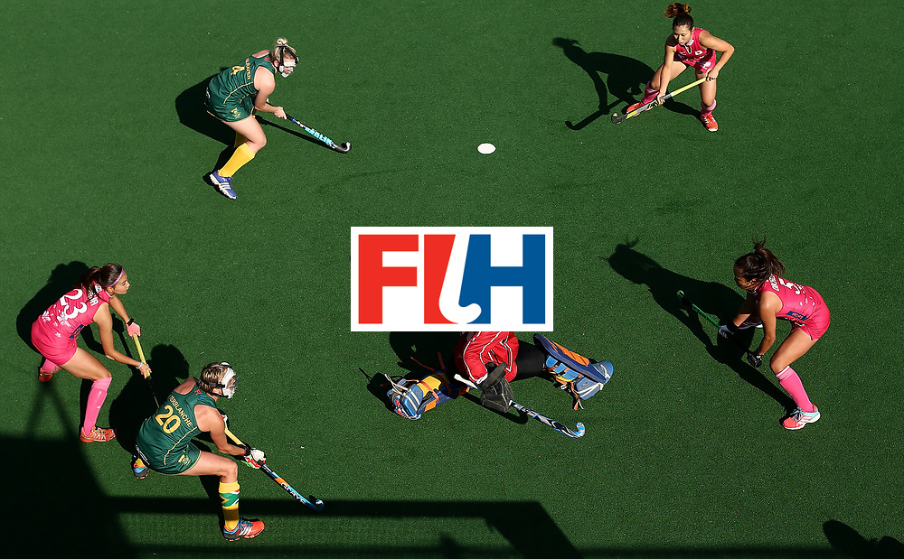 JOHANNESBURG, SOUTH AFRICA - JULY 22:  Phumelela Mbande, goalkeeper of South Africa blocks a shot at goal during day 8 of the FIH Hockey World League Women's Semi Finals 5th/ 6th place match between Japan and South Africa at Wits University on July 22, 2017 in Johannesburg, South Africa.  (Photo by Jan Kruger/Getty Images for FIH)
