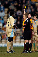 Photo: Jed Wee.<br /> Bradford City v Bristol City. Coca Cola League 1. 18/02/2006.<br /> <br /> Bristol's Mark McCammon (L) receives the yellow card from referee J Jones within seconds of making his debut as a substitute.