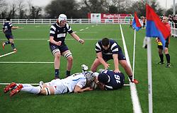 Charlie Squier of Bristol Bears Academy U18 scores a try -Mandatory by-line: Nizaam Jones/JMP- 05/01/2019 - RUGBY - North Bristol RFC - Bristol, England - Bristol Academy U18 v Exeter Chiefs U18-U18 Academy League