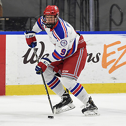 BUFFALO, NY - SEP 21,  2017: Ontario Junior Hockey League Governors Showcase game between the Aurora Tigers and Oakville Blades, Garret Pyke #9 of the Oakville Blades skates with the puck during the second period.<br /> (Photo by Andy Corneau / OJHL Images)