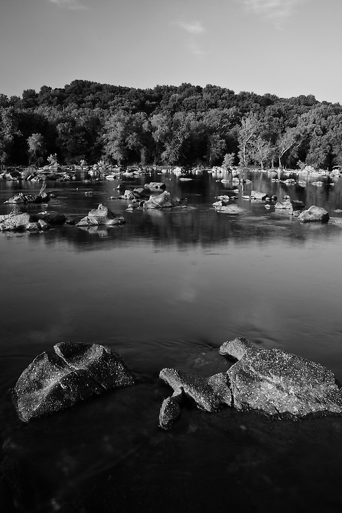 Morning on the Potomac River adjacent to Lock 10, Chesapeake and Ohio National Historical Park, Seven Locks, Montgomery County, Maryland.  Black and white image.