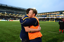 Ryan Mills of Worcester Warriors celebrates at the end of the game with Luke Baldwin of Worcester Warriors - Mandatory by-line: Dougie Allward/JMP - 11/02/2017 - RUGBY - Sixways Stadium - Worcester, England - Worcester Warriors v Saracens - Aviva Premiership