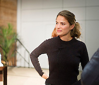 """Top US Model Cameron Russell at the First Thoughts Talks  """"Looks Aren't  Everything"""" in the Bailey Allen in NUI, Galway. Photo: Andrew Downes, Xposure."""