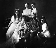The Romanovs (ruling family of Russia) 1913. Nicholas II (1868-1918), Tsar of Russia 1894-1917, with his wife and children, including the Tsarevich Alexi who suffered from Haemophilia