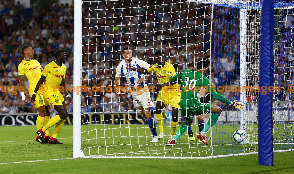 Shane Duffy of Brighton heads in but its disallowed during the pre season friendly between Brighton and Hove Albion and FC Nantes at the American Express Community Stadium in Brighton. 03 Aug 2018