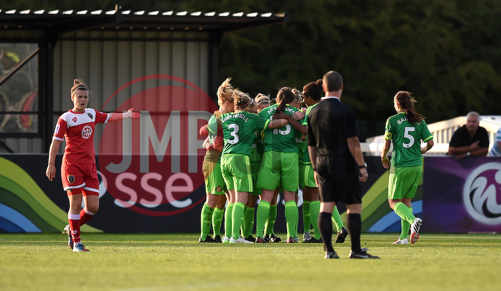 Sunderland players celebrate their fourth goal - Mandatory by-line: Paul Knight/JMP - 25/07/2015 - SPORT - FOOTBALL - Bristol, England - Stoke Gifford Stadium - Bristol Academy Women v Sunderland AFC Ladies - FA Women's Super League