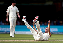 Mark Wood of England falls over as he makes an appeal for LBW - Mandatory by-line: Robbie Stephenson/JMP - 07/07/2017 - CRICKET - Lords - London, United Kingdom - England v South Africa - Investec Test Series