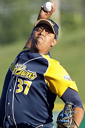 08 July 2017: Reinaldo Lopez during a Frontier League Baseball game between the Traverse City Beach Bums and the Normal CornBelters at Corn Crib Stadium on the campus of Heartland Community College in Normal Illinois