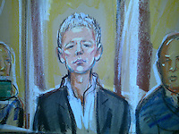 Julian assange between guards at the Royal Courts of Justice for his latest bail hearing