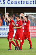 Picture by Ian Wadkins/Focus Images Ltd +44 7877 568959<br /> 25/07/2013<br /> Prestatyn Town players acknowledge crowd's support after losing the second leg of the UEFA Europa League round two qualifying match against FC Rijeka at Belle Vue Stadium, Rhyl.