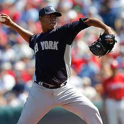February 27, 2011; Clearwater, FL, USA; New York Yankees Ivan Nova (47) during a spring training exhibition game against the Philadelphia Phillies at  Bright House Networks Field. Mandatory Credit: Derick E. Hingle
