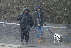 © Licensed to London News Pictures. 17/03/2019. London, UK. Couple women with a dog walking as large hailstones starts falling in North London. Photo credit: Dinendra Haria/LNP