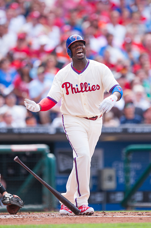 PHILADELPHIA, PA - JULY 21: Ryan Howard #6 of the Philadelphia Phillies reacts while batting during the game against the San Francisco Giants at Citizens Bank Park on July 21, 2012 in Philadelphia, Pennsylvania. (Photo by Rob Tringali) *** Local Caption *** Ryan Howard