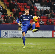 Cardiff City midfielder, Anthony Pilkington (13) controlling the ball during the Sky Bet Championship match between Charlton Athletic and Cardiff City at The Valley, London, England on 13 February 2016. Photo by Matthew Redman.
