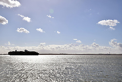 Canvey Island, Essex UK - container ship