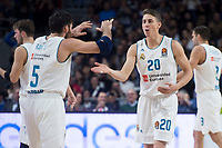 Real Madrid Rudy Fernandez and Jaycee Carroll during Turkish Airlines Euroleague match between Real Madrid and Crvena Zvezda at Wizink Center in Madrid, Spain. December 01, 2017. (ALTERPHOTOS/Borja B.Hojas)