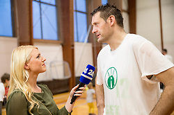 Milena Novak and Goran Jagodnik of Ilirija at Jagodnik's end of a career after basketball match between KD Ilirija and KK Mesarija Prunk Sezana in Last Round of 2. SKL  2016/17, on April 15, 2017 in GIB center, Ljubljana, Slovenia. Photo by Vid Ponikvar / Sportida
