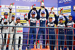 October 28, 2018 - Portimao, PORTUGAL - 22 UNITED AUTOSPORTS (USA) LIGIER JSP217 GIBSON LMP2 PHILIP HANSON (GBR) FILIPE ALBUQUERQUE (PRT) WINNER OVERALL.#23 PANIS BARTHEZ COMPETITION (FRA) LIGIER JSP217 GIBSON LMP2 TIMOTHE BURET (FRA) JULIEN CANAL (FRA) WILLIAM STEVENS (GBR) SECOND OVERALL.#32 UNITED AUTOSPORTS (USA) LIGIER JSP217 GIBSON LMP2 WILLIAM OWEN (USA) HUGO DE SADELEER (CHE) WAYNE BOYD (GBR) THIRD OVERALL (Credit Image: © Panoramic via ZUMA Press)