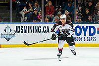 KELOWNA, CANADA - MARCH 16: Alex Kannok Leipert #41 of the Vancouver Giants skates with the puck against the Kelowna Rockets  on March 16, 2019 at Prospera Place in Kelowna, British Columbia, Canada.  (Photo by Marissa Baecker/Shoot the Breeze)