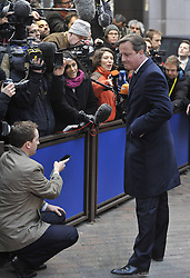 (131219) <br /> British Prime Minister David Cameron speaks to media upon his arrival at EU headquarters for an EU summit in Brussels, capital of Belgium, Thursday, 19th December 2013. Picture by  imago / i-Images<br /> <br /> UK ONLY