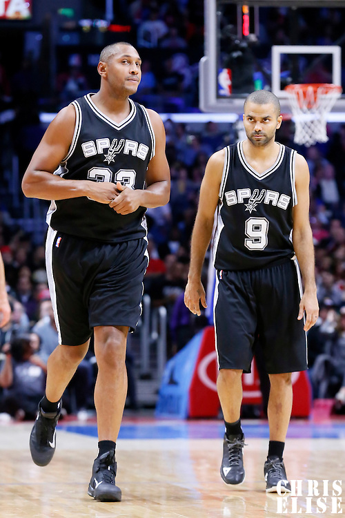 10 November 2014: San Antonio Spurs forward Boris Diaw (33) is seen next to San Antonio Spurs guard Tony Parker (9) during the San Antonio Spurs 89-85 victory over the Los Angeles Clippers, at the Staples Center, Los Angeles, California, USA.