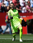 Ivan Cuellar of Sporting Gijon celebrates during the Spanish championship Liga football match between Sevilla FC and Sporting Gijon on April 2, 2017 at Sanchez Pizjuan stadium in Sevilla, Spain - photo Cristobal Duenas / Spain / ProSportsImages / DPPI