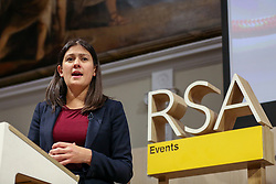 © Licensed to London News Pictures. 15/01/2020. London, UK. Labour Party leadership candidate LISA NANDY speaks to the members of Royal Society of Arts, Manufactures and Commerce (RSA) in central London about Britain's international role following the UK's departure from the European Union on 31 January 2020, as part of her bid to for Leader of the Labour Party. Photo credit: Dinendra Haria/LNP