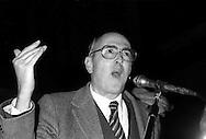 Roma 1983.Manifestazione contro il Governo Fanfani .Giorgio Napolitano (Partito Comunista Italiano)  .