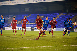 BIRKENHEAD, ENGLAND - Tuesday, December 19, 2017: Liverpool's Cameron Brannagan hits the woodwork with his penalty kick during the Under-23 FA Premier League International Cup Group A match between Liverpool and PSV Eindhoven at Prenton Park. (Pic by David Rawcliffe/Propaganda)