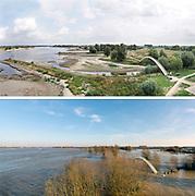Nederland, Nijmegen, 19-8-2018Impressie van het verschil tussen hoogwater rond de jaarwisseling en de lage waterstand nu. Boven is van 19 augustus, onder van 8 januari.Het verschil is ruim 7 meterDoor de lage waterstand in de Waal is de scheepvaart ernstig belemmerd. Het laagwater gaat morgen waarschijnlijk het record, laagterecord, verbreken . 6,89 meter boven NAP in 2011.Foto: Flip Franssen