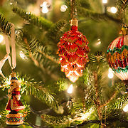 Close-up of Christmas decorations on a Christmas tree.