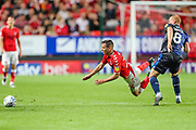 Charlton Athletic midfielder Josh Cullen (24) is fouled by Nottingham Forest midfielder Ben Watson (8) during the EFL Sky Bet Championship match between Charlton Athletic and Nottingham Forest at The Valley, London, England on 21 August 2019.
