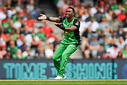 17th February 2019, Marvel Stadium, Melbourne, Australia; Australian Big Bash Cricket League Final, Melbourne Renegades versus Melbourne Stars; Dwayne Bravo of the Melbourne Stars reacts after seeing his bowl goes close